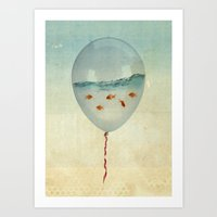 orange Art Prints featuring balloon fish by Vin Zzep
