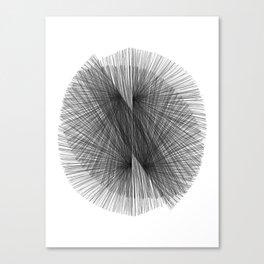 Black & White Mid Century Modern Radiating Lines Geometric Abstract Canvas Print
