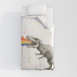 T-Rex Dinosaur Vomits Rainbow Duvet Cover