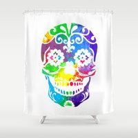 sugar skull Shower Curtains featuring Sugar Skull by Diana Arend