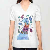 paisley V-neck T-shirts featuring Paisley by Jessie Lilac