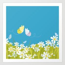 Summer. Butterflies. Art Print