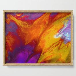 Fluid Abstract 37; The Fire Rages On Serving Tray