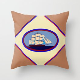 A Nautical Scene with Clipper Ship with Taupe Background Throw Pillow