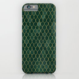 Mermaid Fin Pattern // Emerald Green Gold Glittery Scale Watercolor Bedspread Home Decor iPhone Case