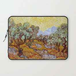 Van Gogh - Olive Trees with yellow sky and sun Laptop Sleeve