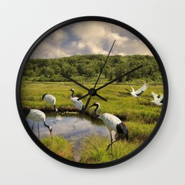 The Japanese Cranes of the Hokkaido Wetlands Wall Clock