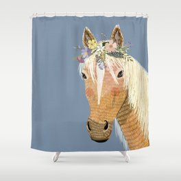 Horse with flower crown Shower Curtain