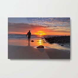 Evening Sunset Surfing Metal Print