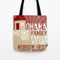 lilo and stitch Tote Bags featuring Ohana Means Family - Lilo & Stitch by Crafts and Dogs