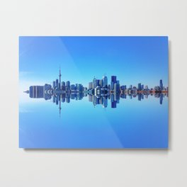 Toronto Skyline Reflection Metal Print