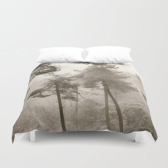 """Into the woods"". Mono. Wandering into the fog. Duvet Cover"