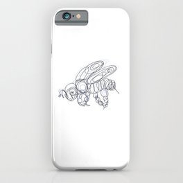 Honey Bee Line Drawing iPhone Case