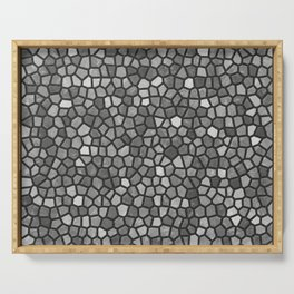 Faux Stone Mosaic in Darker Grays Serving Tray