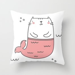 MerKitty Pink Throw Pillow