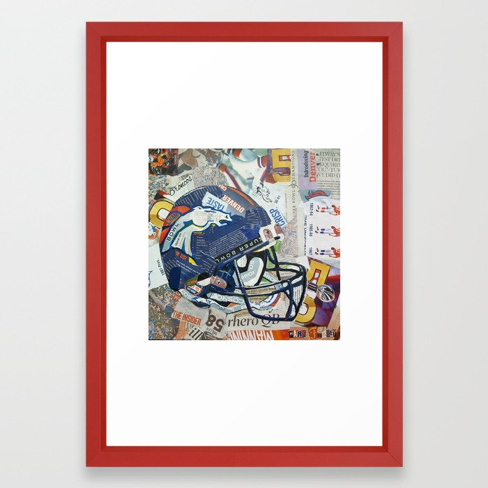 Broncos Helmet Collage Framed Art Print by markfraleyart | Society6