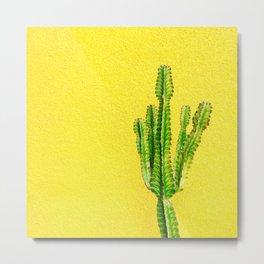Yellow Cactus Metal Print