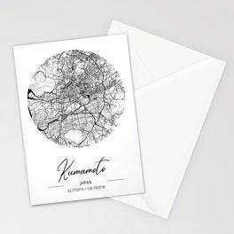 Kumamoto Area City Map, Kumamoto Circle City Maps Print, Kumamoto Black Water City Maps Stationery Cards