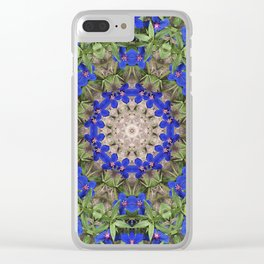 Peacock colors botanical kaleidoscope, mandala - Anagallis, Blue pimpernel flowers Clear iPhone Case