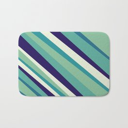 Blue Diagonal : Pattern Bath Mat