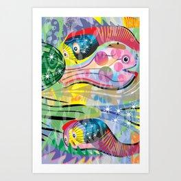 Hippy Fish in Rainbow Glow Art Print
