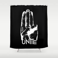 mockingjay Shower Curtains featuring Unite Mockingjay by Katherine GM