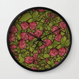 Beautiful Clover Flowers Pattern Wall Clock