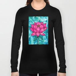Sacred Lotus – Magenta Blossom with Turquoise Wash Long Sleeve T-shirt