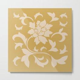 Oriental Flower - Coffee Latte & Spicy Mustard Metal Print