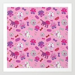 Pink, Purple, & Puppies Art Print