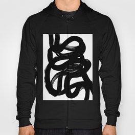 Swirl Black & White Minimalist Abstract Mid century Ink Art Dark Brush Strokes Hoody