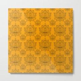Lotus Mandala Doodle Pattern Orange Metal Print