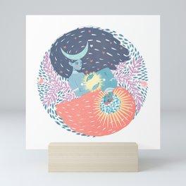 Moon and Sun Vintage Goddess // Yin & Yan Folk Art Mini Art Print