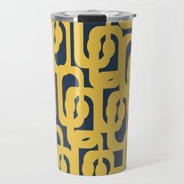 Mustard Yellow and Navy Blue Mid-Century Modern Loop Pattern Travel Mug