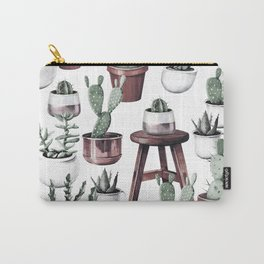 Happy Potted Cacti in Rose Gold Pots Carry-All Pouch