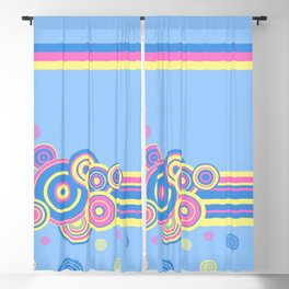 Pastel circles and stripes Blackout Curtain