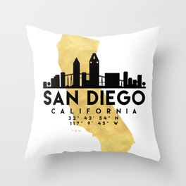 SAN DIEGO CALIFORNIA SILHOUETTE SKYLINE MAP ART Throw Pillow