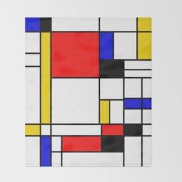 Bauhouse Composition Mondrian Style Throw Blanket