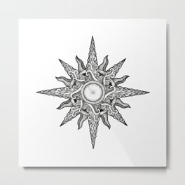 Surf in a windrose – compass (tattoo style) Metal Print