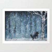 Snow's Flight Art Print