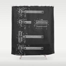 Gillette 1915 Safety Razor Patent  Shower Curtain
