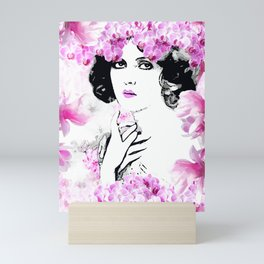 CLARA WOMAN PINK ORCHIDS AND MAGNOLIAS Mini Art Print