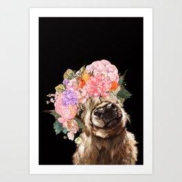 Highland Cow With Flower Crown Black Art Print