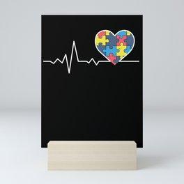 Autism Awareness Gift Autism Puzzle Heartbeat Gift Mini Art Print