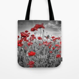 Idyllic Field of Poppies with Sun Tote Bag