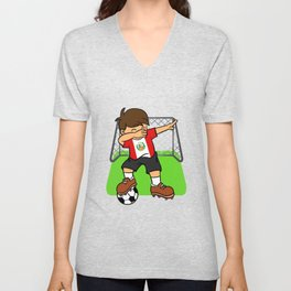 Peru Soccer Ball Dabbing Kid Peruvian Football Goal Unisex V-Neck