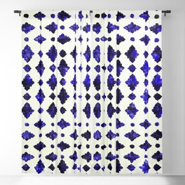 (N1) Royal Blue Traditional Moroccan Arabic Geometric Artwork Blackout Curtain