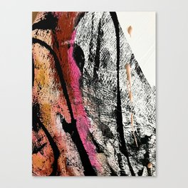 Motivation [2] : a colorful, vibrant abstract piece in pink red, gold, black and white Canvas Print