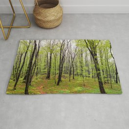 Spring green leafy deciduous forest Rug