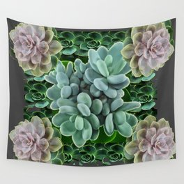 GARDEN OF GRAY-GREEN PINK SUCCULENTS Wall Tapestry